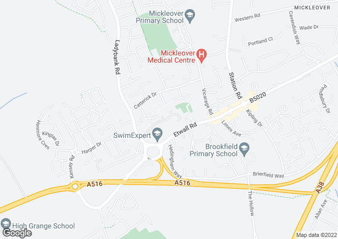 Map for Mickleover Manor, Mickleover, Derby