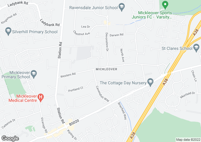 Map for Western Road, Mickleover, Derby