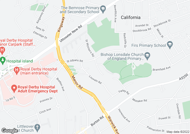 Map for Bishops Green, Derby, DE22 3FX