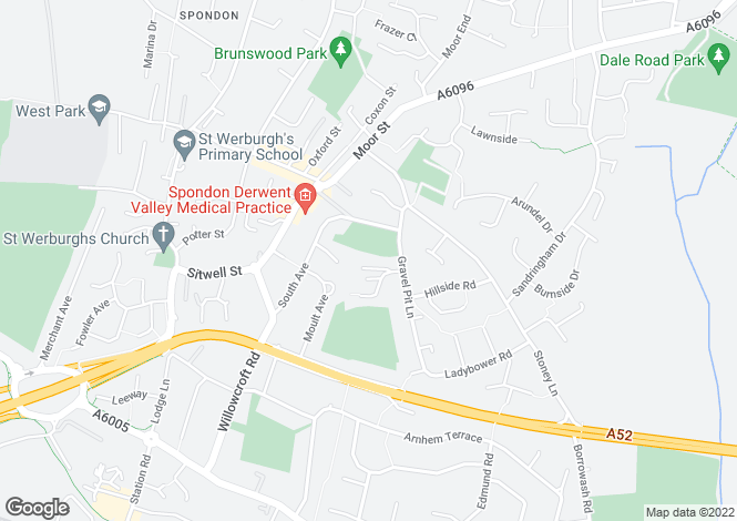 Map for Hill Close, Spondon