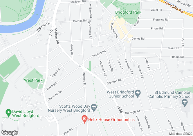 Map for Highfield Road, West Bridgford, Nottingham