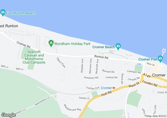 Map for Runton Road, Cromer