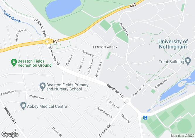 Map for Austrey Avenue, Lenton Abbey, Nottingham