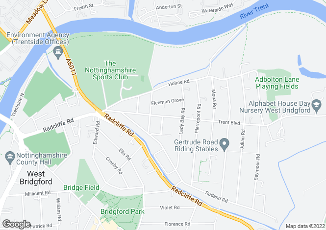 Map for 61 Trent Boulevard, West Bridgford, NG2 5BE