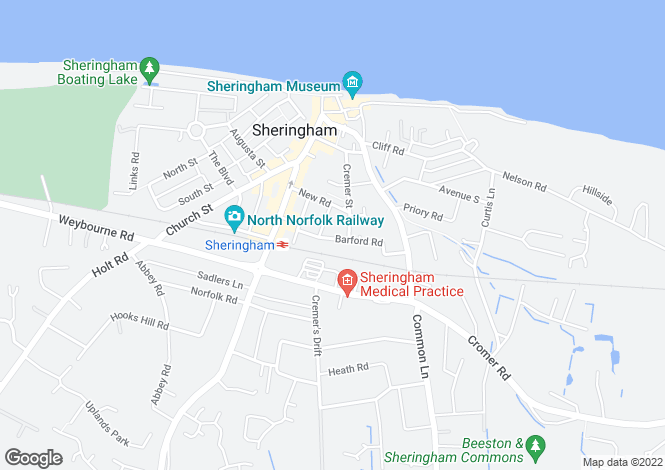 Map for Shannock Court George Street Sheringham Norfolk