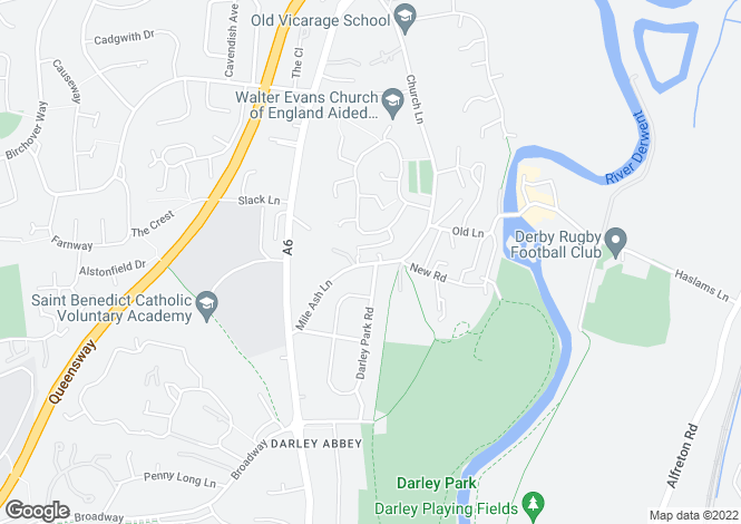 Map for 29 Mileash Lane, Darley Abbey, Derby