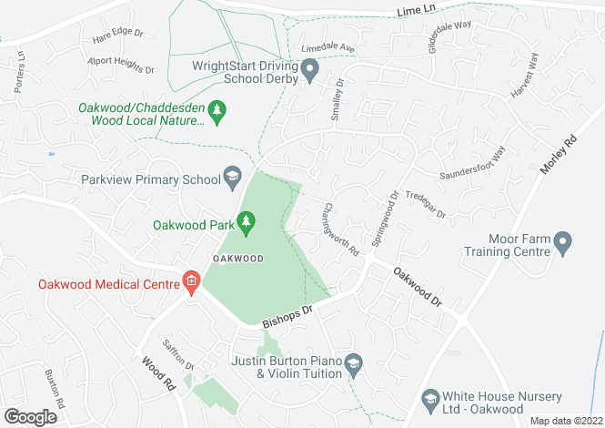 Map for Regis Close, Oakwood, Derby