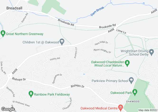 Map for Lindford Close, Oakwood, Derby, Derbyshire