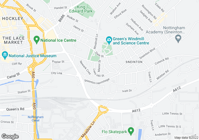 Map for Manor Street<br>Sneinton<br>Nottingham
