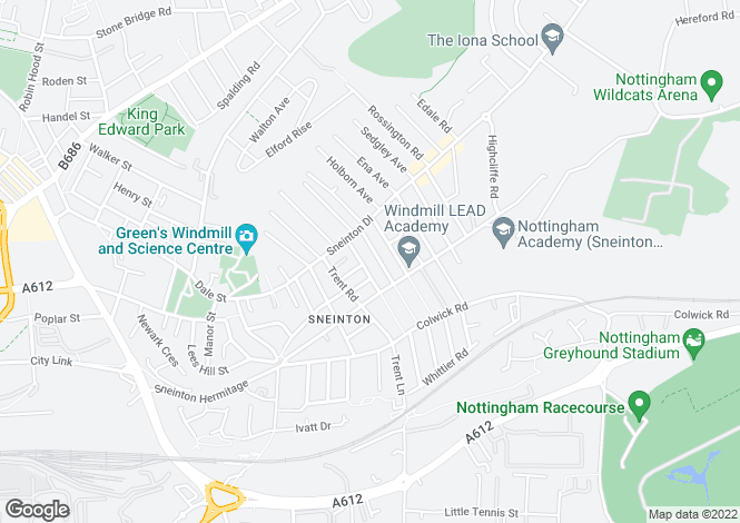 Map for Westwood Road, Sneinton, Nottingham