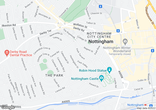 Map for The Garden House, The Park, Nottingham, Nottinghamshire