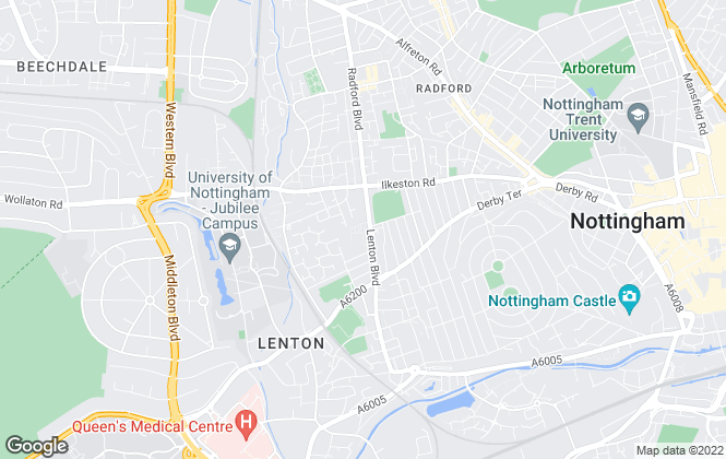 Map for Nottingham West Lettings, Nottingham