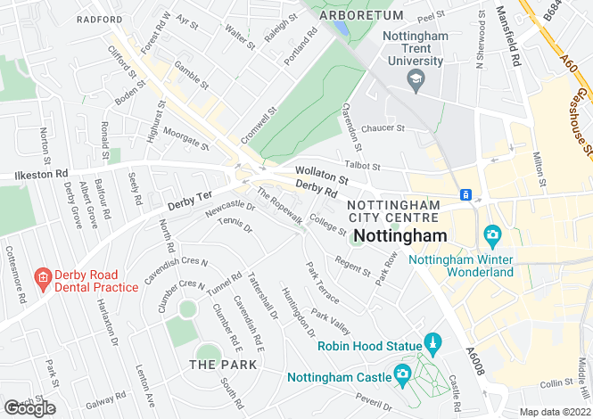 Map for The Ropewalk, Nottingham, NG1