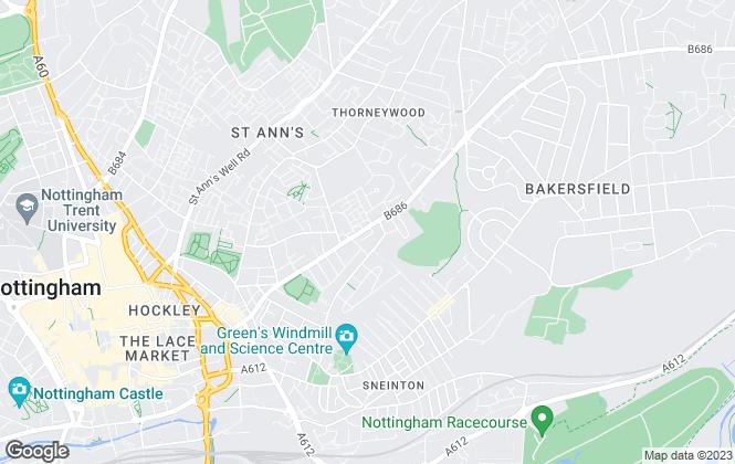 Map for Homeshare, Nottingham
