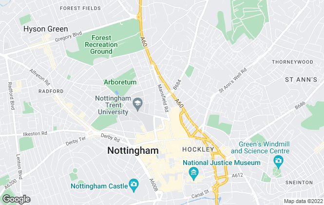 Map for Robin Thomson, Nottingham