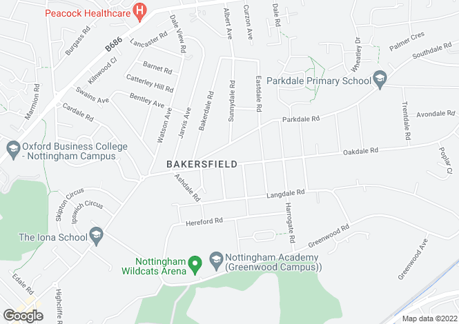 Map for Oakdale Road, Bakersfield, Nottingham