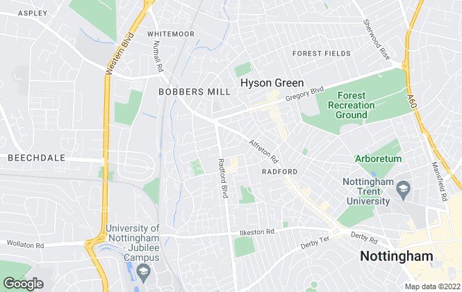 Map for The Student Lodge, Nottingham