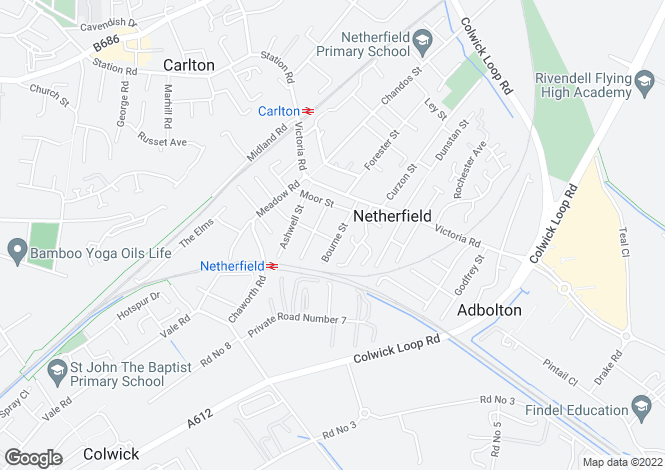 Map for Bourne Street, Netherfield