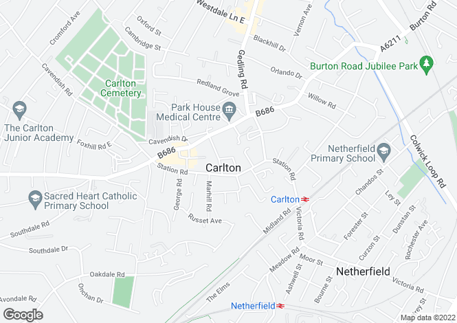 Map for Elm Avenue, Carlton, Nottingham