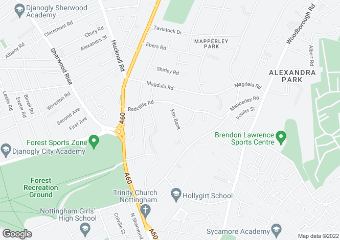 Map for Flat 1, 11 Elm Bank, Mapperley Park, Nottingham NG3 5AJ