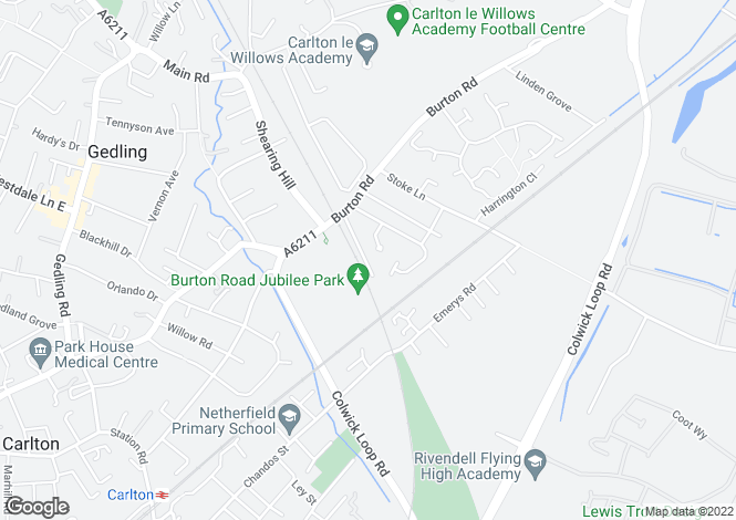 Map for De Buseli Close, Gedling, Nottingham