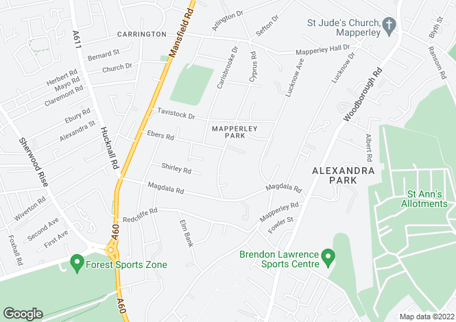 Map for Mapperley Park, Nottingham