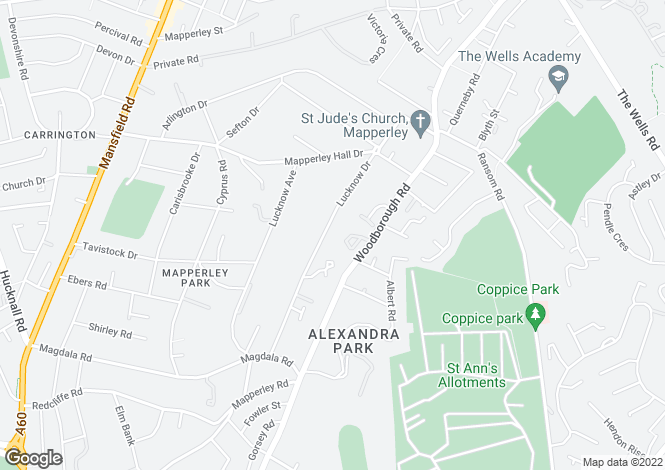 Map for Lucknow Drive, Mapperley Park, Nottingham