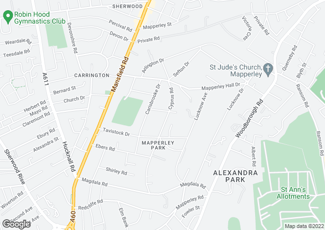Map for 15 Mapperley Hall Drive, Mapperley Park, Nottingham, NG3 5ED