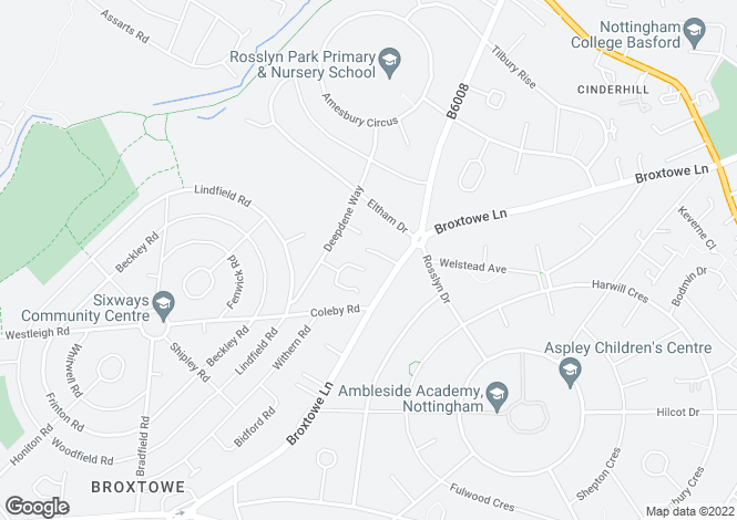 Map for Broxtowe Hall Drive<br>Broxtoww<br>Nottingham