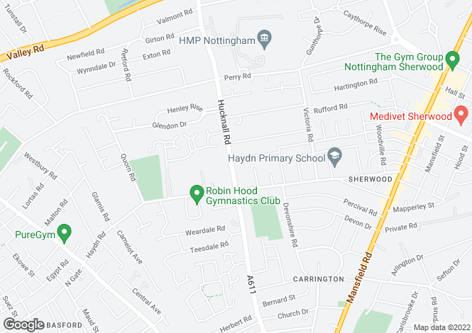 Map for 2 Haydn Court, Hucknall Road, Nottinghamshire, Nottingham, NG5 1FG
