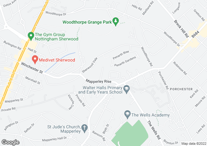 Map for Maurice Drive, Mapperley, Nottingham