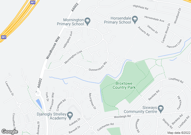 Map for Gunnersbury Way, Nuthall, NG16 1QD