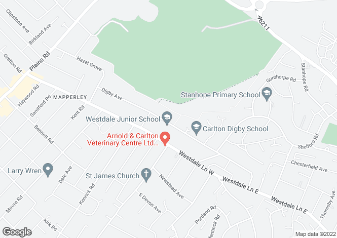 Map for Digby Avenue, Mapperley