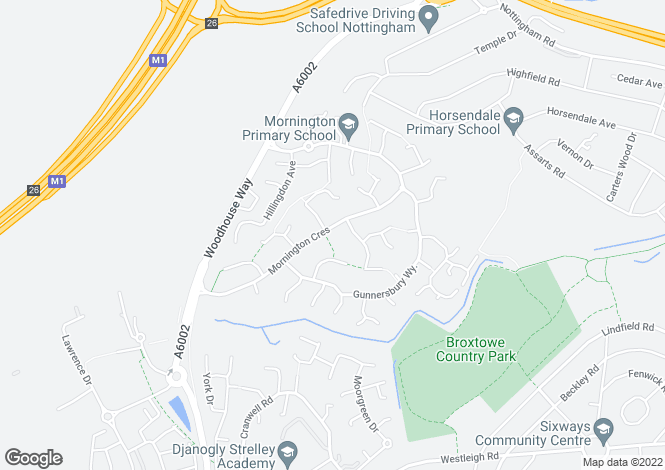 Map for Mornington Crescent, Nuthall, Nottingham, NG16
