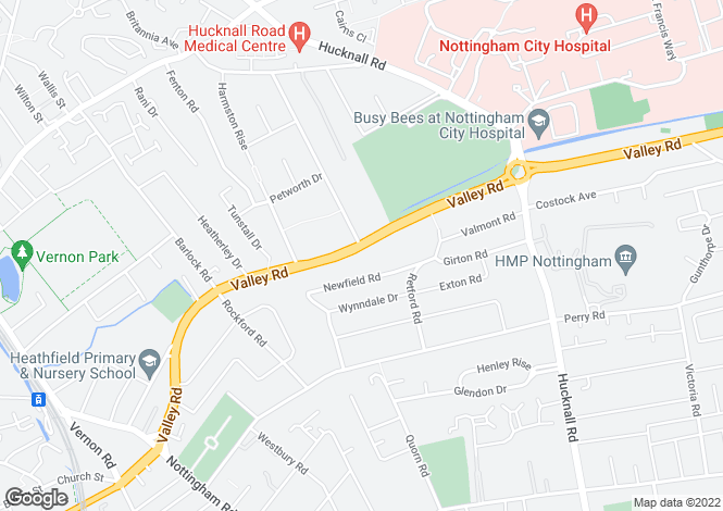 Map for Valley Road, Sherwood, Nottingham