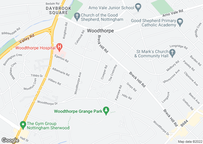 Map for Cowper Road, Woodthorpe, Nottingham