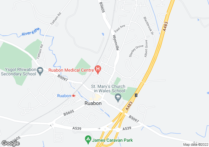 Map for Ruabon, Wrexham, LL14