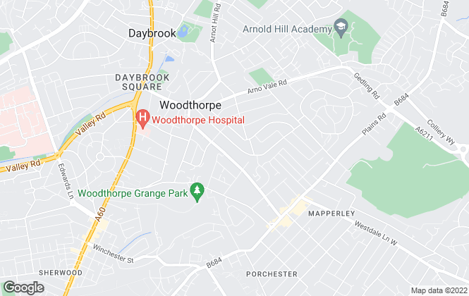 Map for Ashcourt Lettings, Woodthorpe
