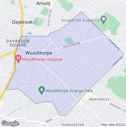 Map of property in Woodthorpe