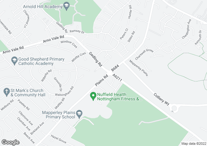 Map for Mapperley Heights, Mapperley Plains