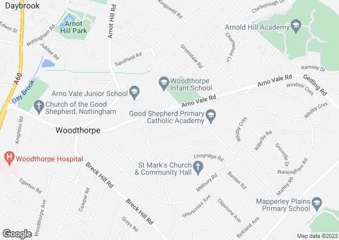 Map for Patterdale Road, Woodthorpe, Nottingham