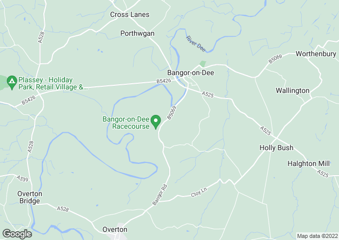 Map for Overton Road, Bangor-On-Dee, Wrexham