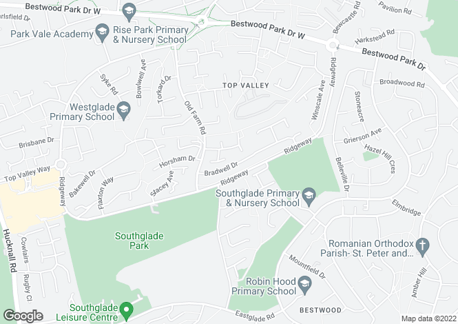 Map for Bradwell Drive, Top Valley, NG5