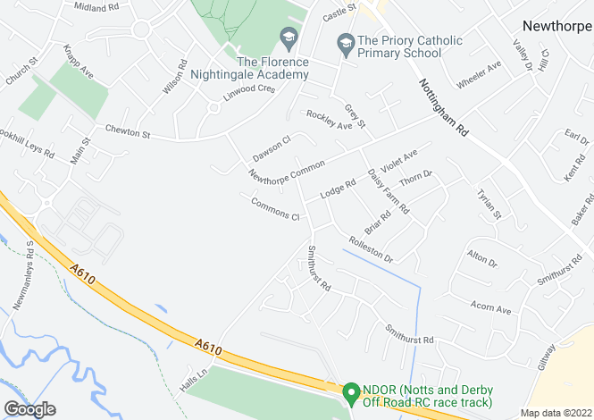Map for Halls Lane, Newthorpe, Nottingham
