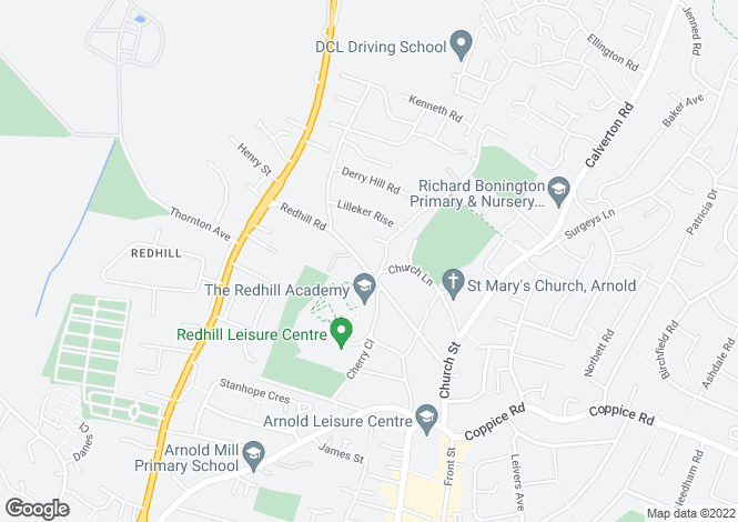 Map for Redhill Road, Arnold, Nottingham, Nottinghamshire