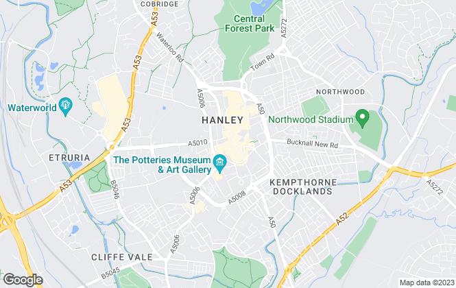 Map for Bridgfords, Hanley
