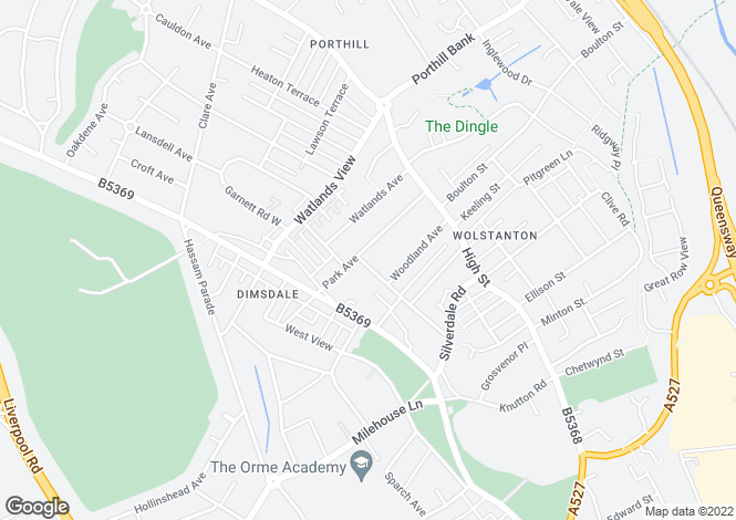 Map for 11 Park Avenue, Wolstanton, NEWCASTLE, Staffordshire