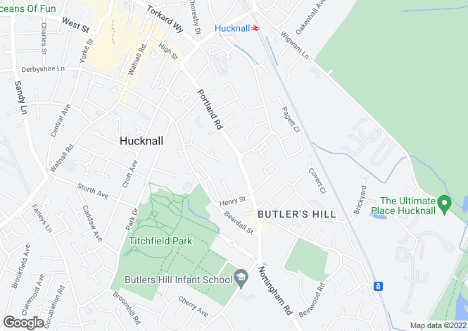 Map for Portland Road, Hucknall, Nottinghamshire