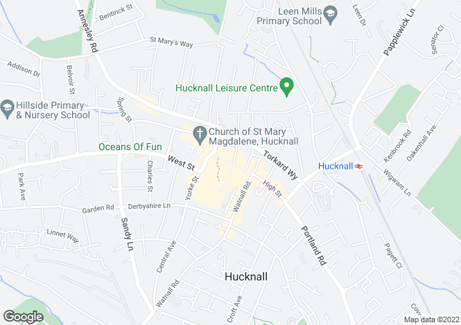 Map for High Street, Hucknall, Nottingham, NG15