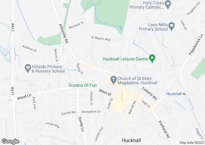 Map for Annesley Road, Hucknall, NG15 7AD